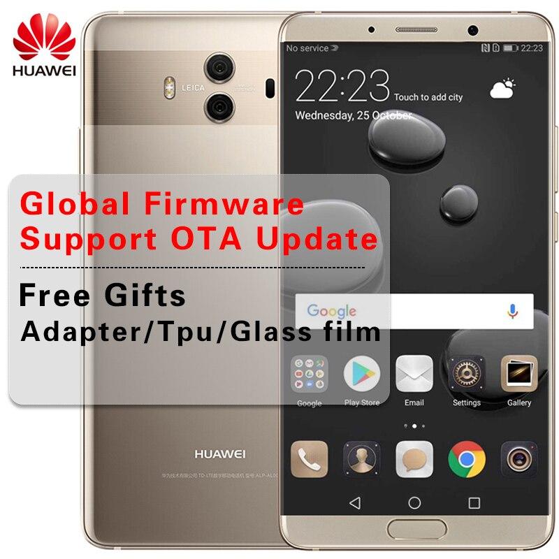 """Глобальная прошивка huawei mate 10 сотовые телефоны Android 8,0 3D Изогнутые стекло 5,9 """"P мАч отпечатков пальцев Octa Core ГГц"""