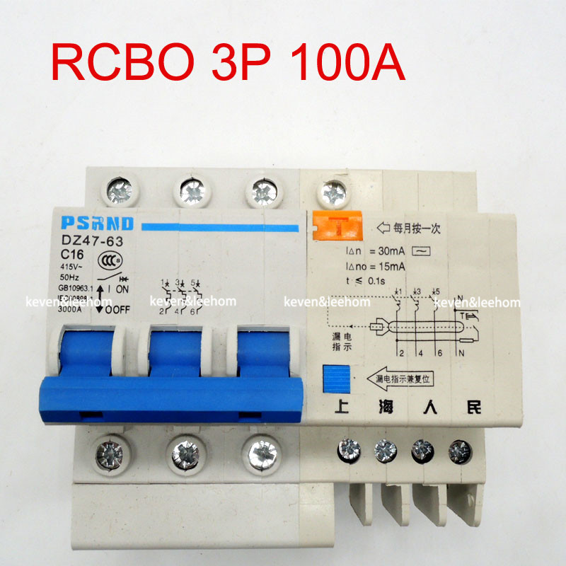 DZ47LE 3P+N 100A 220 380V Small earth leakage circuit breaker DZ47LE-100A Household leakage protector switch RCBO 400a 3p 220v ns moulded case circuit breaker