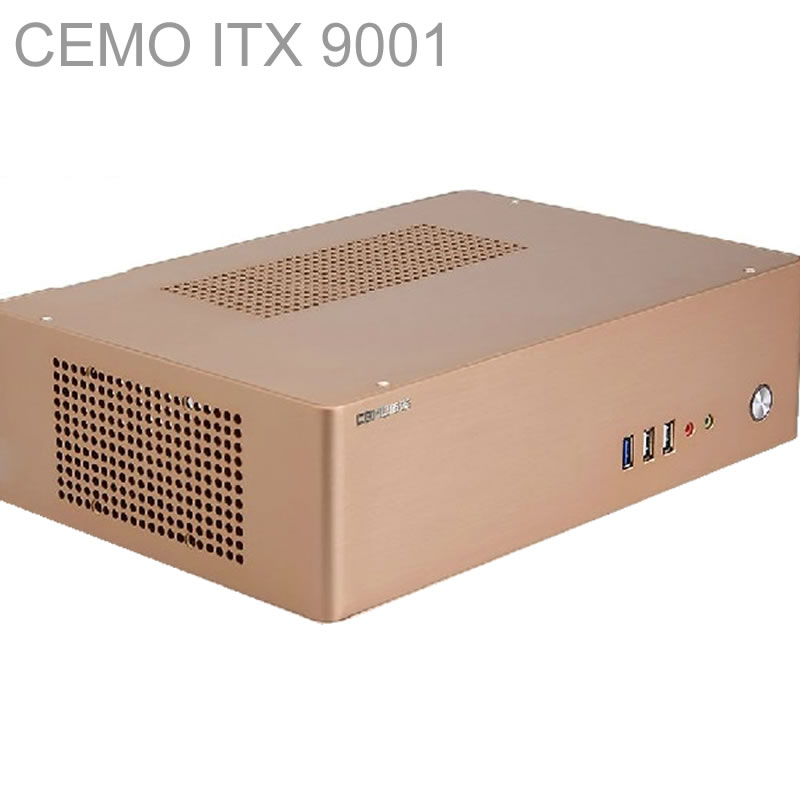 HTPC ITX Mini case with 200W Power, USB3.0, 3.5'' HDD, 2 PCI slots, aluminum computer case, 180*245mm motherboard, CEMO 9001