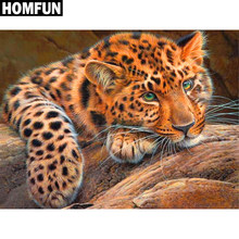 "HOMFUN Volledige Vierkante/Ronde Boor 5D DIY Diamant Schilderij ""Animal leopard"" 3D Borduren Kruissteek 5D Strass home Decor(China)"