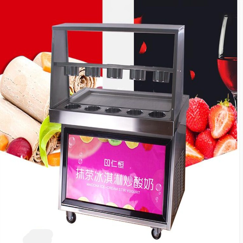 2017 new design fried ice cream roll machine,220V Freeze yogurt machine, ice pan machine with LED light three pan style for you ce fried ice cream machine stainless steel fried ice machine single round pan ice pan machine thai ice cream roll machine