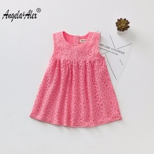 ФОТО angela&alex 2017 summer and autumn girl's fashion lace cotton dress children two lace hem dresses witth  daily activities