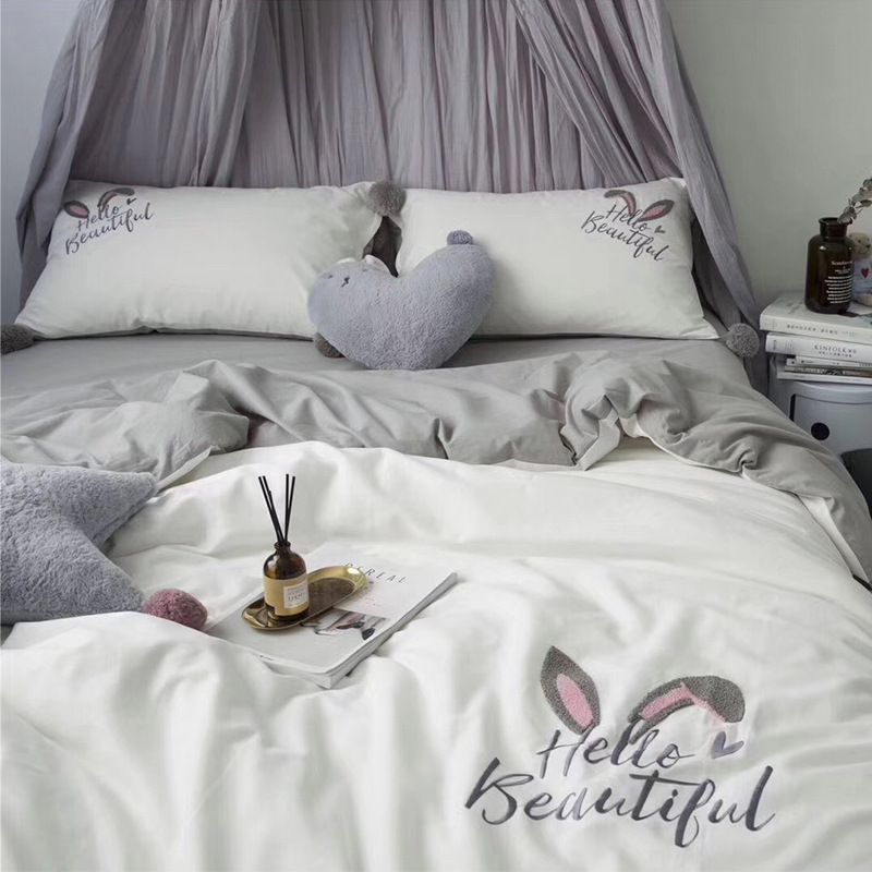Rabbit Ears 100% Cotton Pure Embroidery Brushed Quilt Cover Soft Printed Bedding Set With Pillow Cases Bed Sheet Duvet Cover