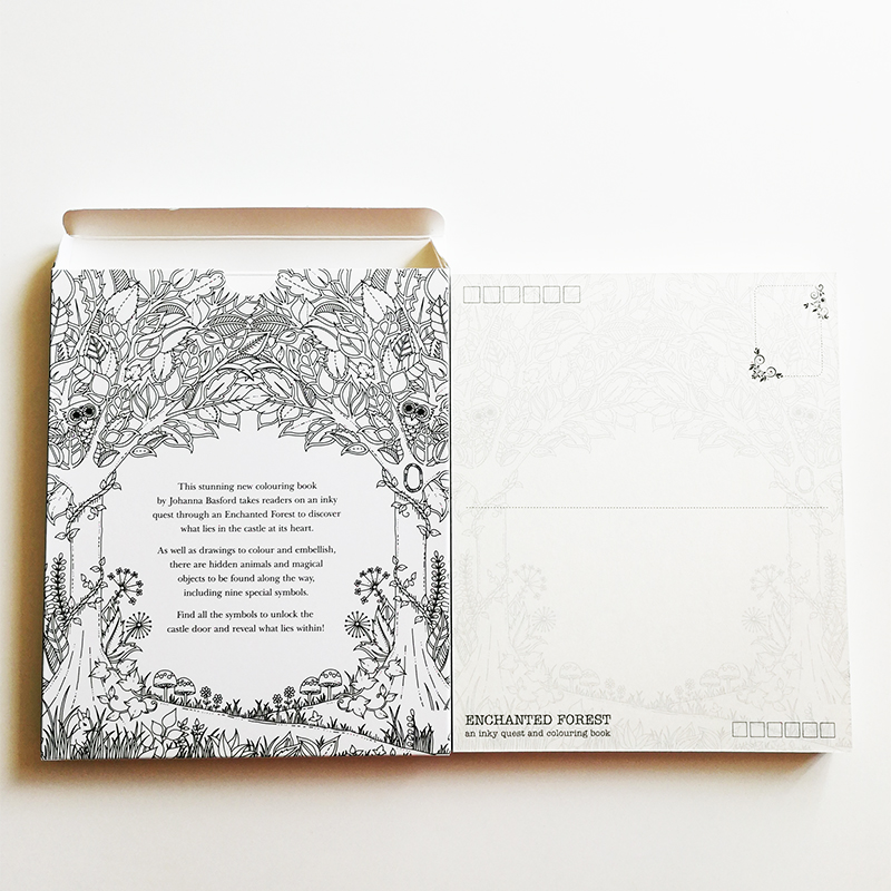 Enchanted Forest Big Size Coloring Postcards 30sheets Set Anti