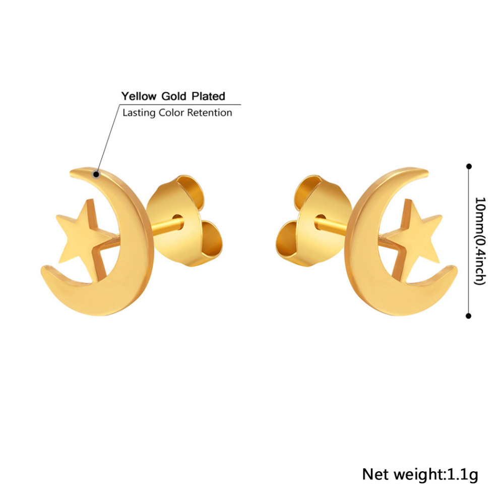 PROSTEEL Islamic Stud Earrings Women Religious Ethnic Gold Color Moon Star Stainless Steel Jewelry Birthday Gifts PSE2543