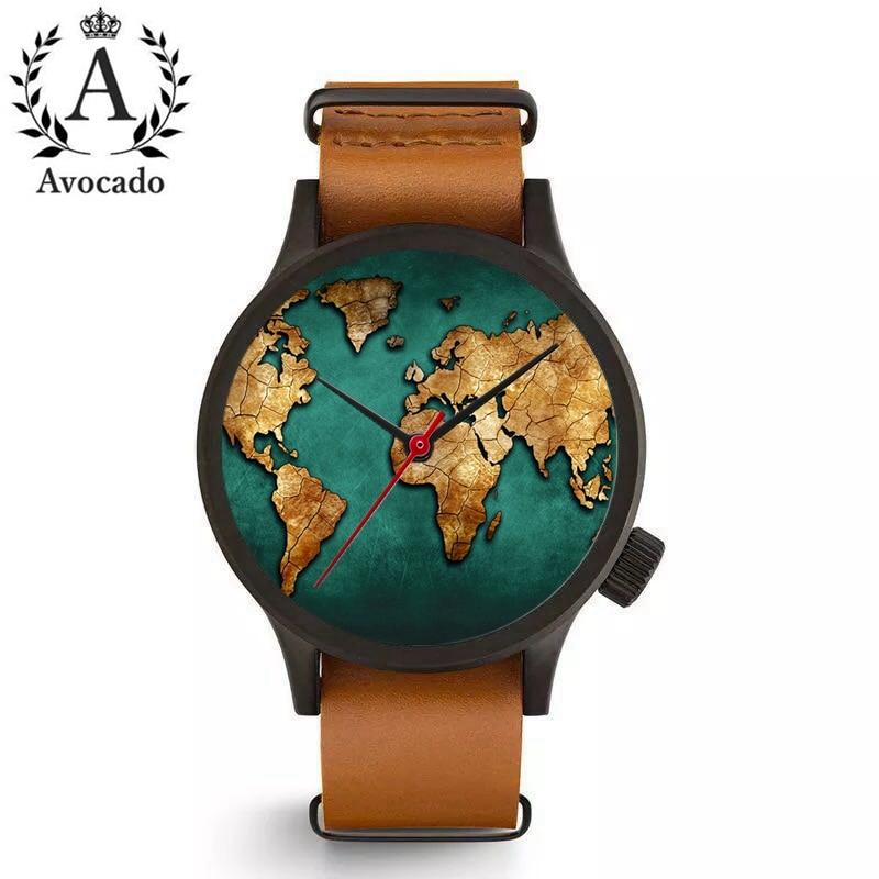 AVOCADO Fashion Brand Women Watches World Map Watch Travel Watch Men And Women Gift. Globe Watches