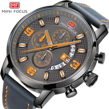 MINIFOCUS Pop Casual Quartz Watch Men Chrono 3 Sub-dial 6 Hands Orange Number Leather Strap Waterproof Multifunction Watches Boy(China)