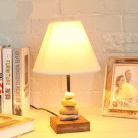 Vintage Creative Country Original Wood Linen Fabric Lampshade Led E27 Table Lamp For Living Room Bedroom Bar Deco 2316
