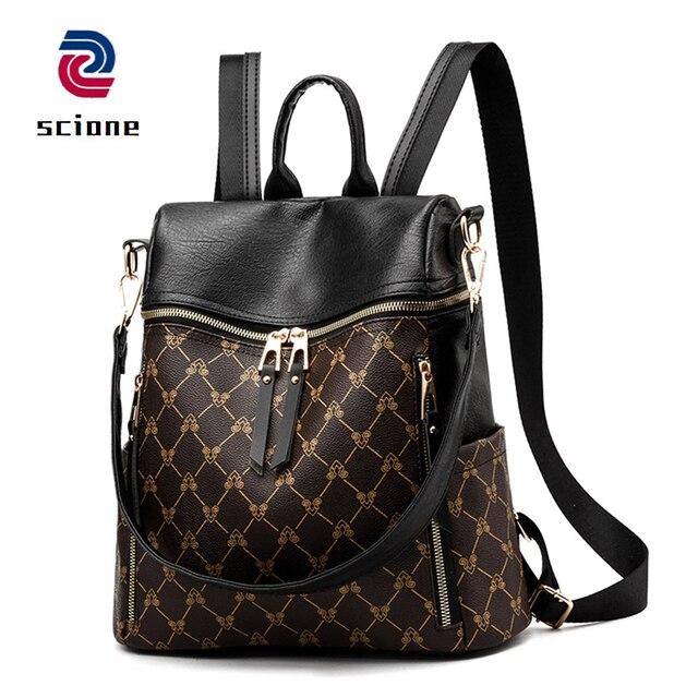 43bc166af31b Retro Pu Leather Women Backpack School Bags For Teenage Girl Mochila  Feminina Anti Theft Bagpack Luxury
