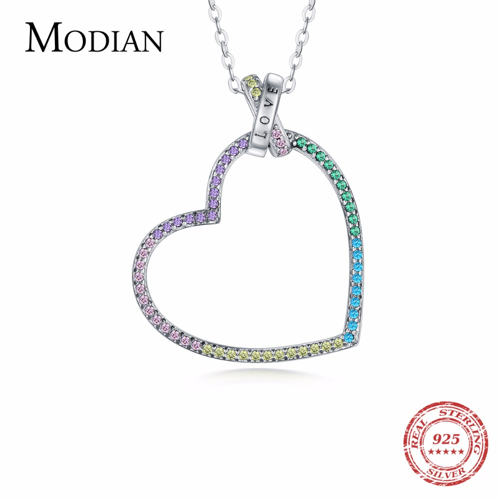 MODIAN 925 Sterling Silver Colorful cubic zirconia Love Pendants Necklace for Women Fine Jewelry Fantastic Heart Necklace Gift fashion custom lettering 925 silver love heart shaped couple necklace peach heart pendants for men and women yp3196