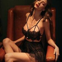 Lencería Sexy de verano para mujer, vestido de noche con tiras de tentación y encaje, lencería Sexy calada con bordado para mujer