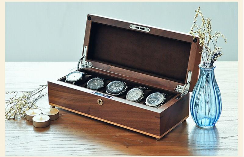 Luxe original en bois de noyer noir 5 grille montre boîte de rangement en bois montre case ...