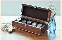 Роскошный оригинальный черный орех дерево 5-сетка коробка для хранения смотреть деревянный корпус часов бренд watchesboxes подарочная коробка смотреть организатор MSBH004e