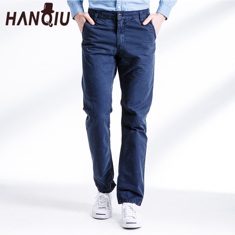 HANQIU Male Pants Trousers Slim-Fit Fahion Casual Brand Autumn Solid Mid Cotton Mid-Waist
