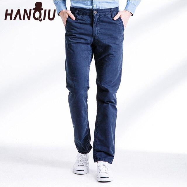 HANQIU Marca Chino Pantaloni Degli Uomini 2019 Autunno Fahion Casual Solido Pantaloni  di Cotone Puro Mid 8ad962e9f3d