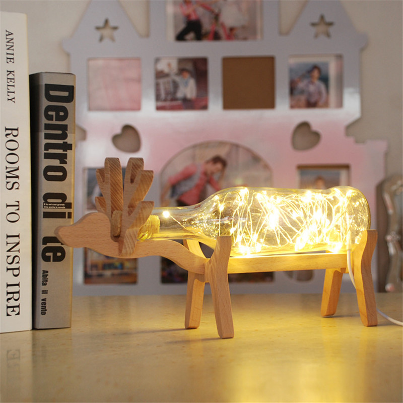 1x deer shape led night lampchristmas birthday gift led copper 1x deer shape led night lampchristmas birthday gift led copper wire string light 4 colors handmade glass bottle usb table lamp in table lamps from lights greentooth Choice Image