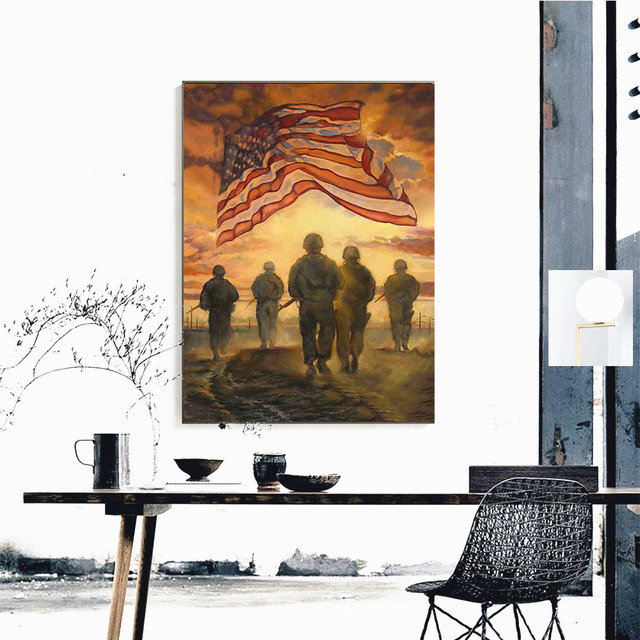 HUACAN 5D Diamond Painting American Army Paint With Diamonds Art Picture Rhinestone Diamond Mosaic Flag Full