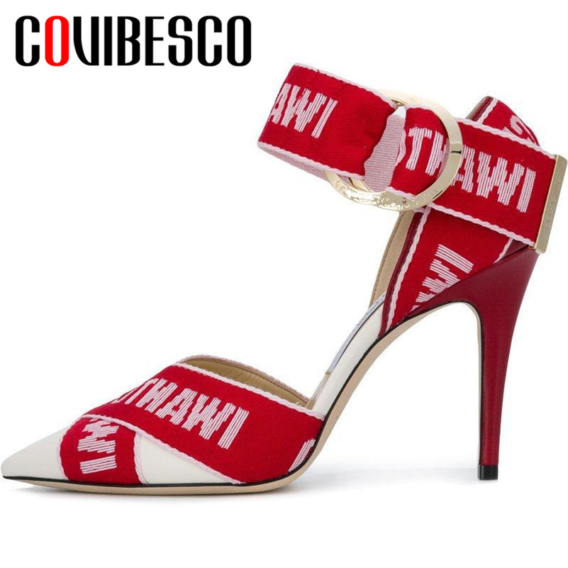 COVIBESCO 2019 Summer Thin Heels Fashion Pointed Toe Buckle Women Sandals Sexy Elegant Genuine Leather Party