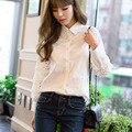 Camisa blusa 2017 Primavera Estilo Preppy Rendas Sólida Escavar Patchwork Turn-down Collar Wide-cintura das Mulheres camisa Branca F6853
