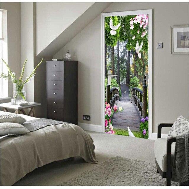 Door Wallpaper Wooden Bridge Forest Murals Background Wall Painting Living Room Bedroom Glass Sticker Self