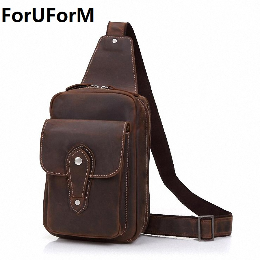 Genuine Leather Men's bags Chest Pack Men Chest Crossbody Bags Small Male Crazy Horse Messenger Bag Men's Shoulder Bags LI-2159 men s bags chest pack casual single shoulder back strap male bag split leather high capacity chest bag crossbody leather