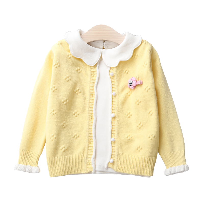 Children Cardigans For Girls Lovely Flower Cotton Sweaters Cardigans 3M-9 Years Spring Fall Baby Girls Knitwear Jacket BC213