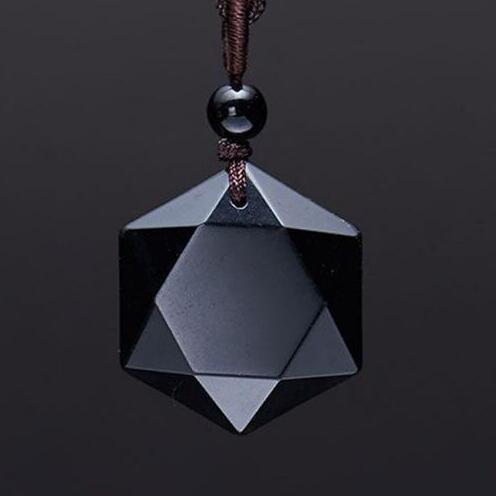 Transporte da gota Preto Obsidiana colar de pingente de obsidiana pingente de estrela do RongDe Sorte Amor Jóia de Cristal Com Corda Livre