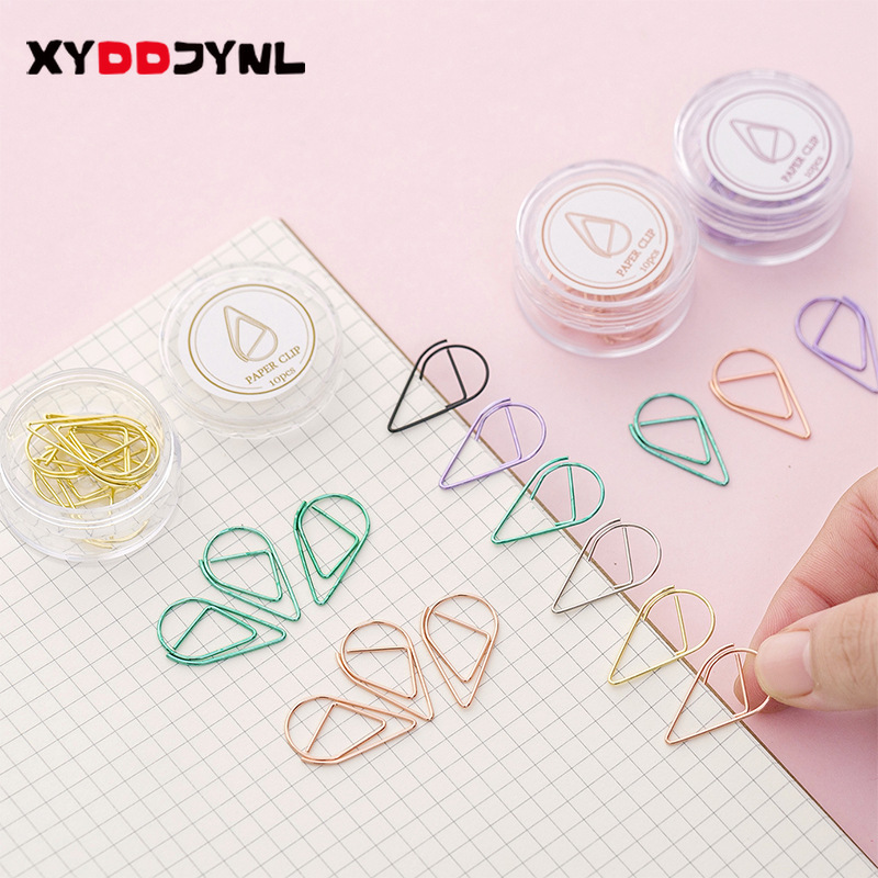 10pcs/box Cute Colored Water-drop Shaped Paper Clips Metal Bookmark Stationery School Memo Clip Office Supplies