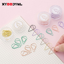 Metal Bookmark Stationery Paper-Clips Office-Supplies School Cute Water-Drop-Shaped Colored