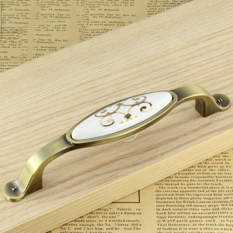 Золотой цветок античный сад Мебель ручки шкафа ручки дверные ручки (C. c: 128 мм Длина: 160 мм)