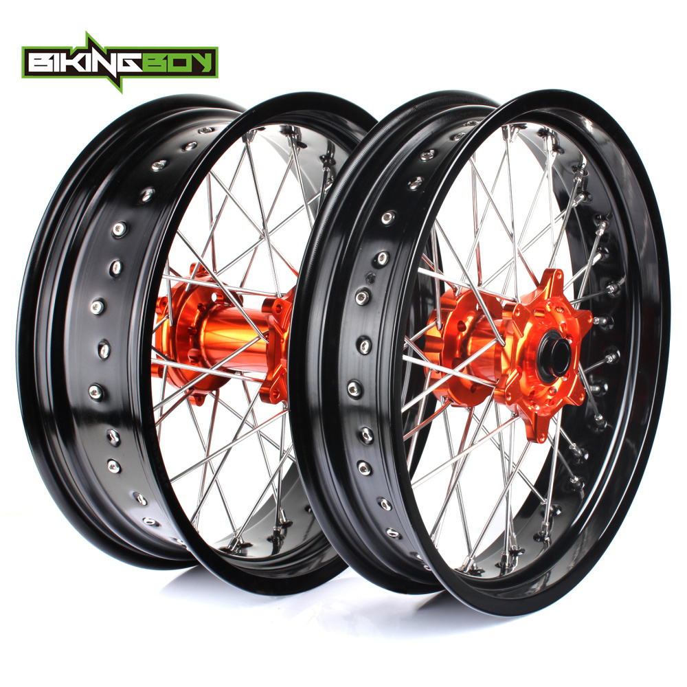3.5*17 5.0*17 Front Rear MX Supermoto Orange Wheels Rims Hub for KTM SX MXC XC GS SXS EXC XCW EXCF SXSF XCG 125-540 HUSABERG