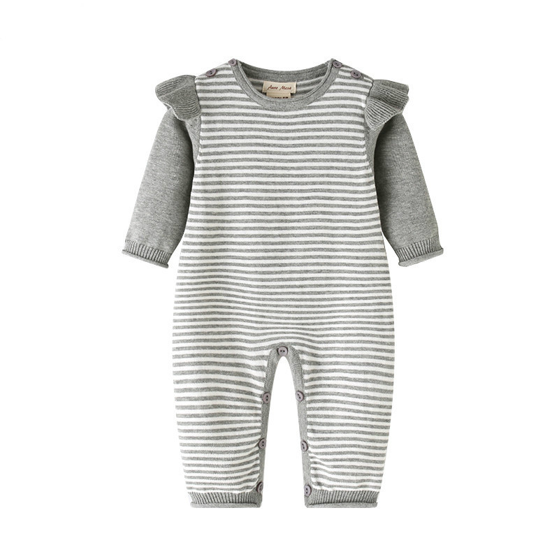 New Baby  Clothes Spring Cotton Baby Girl Stripe Knit Jumpsuit Romper Baby Long Sleeve Outfit Newborn Baby Girl One-piece Romper newborn infant baby girl clothes strap lace floral romper jumpsuit outfit summer cotton backless one pieces outfit baby onesie