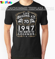 Teeplaza Create Shirts Online Life Begins At 70 1947 The Birth Of Legends Short Sleeve Top