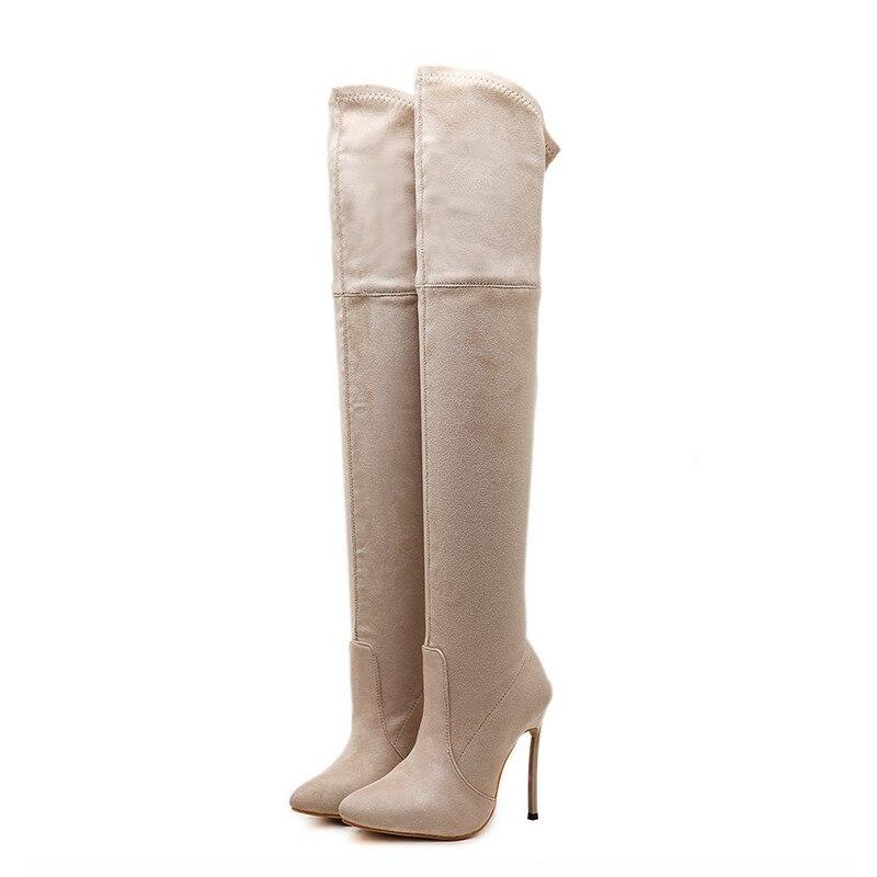 DongCiTaCi mujeres tacones altos botas Zapatos Mujer sobre la rodilla Otoño Invierno botas largas tacones delgados talla 35 42 negro, marrón, beige-in Botas sobre la rodilla from zapatos    3