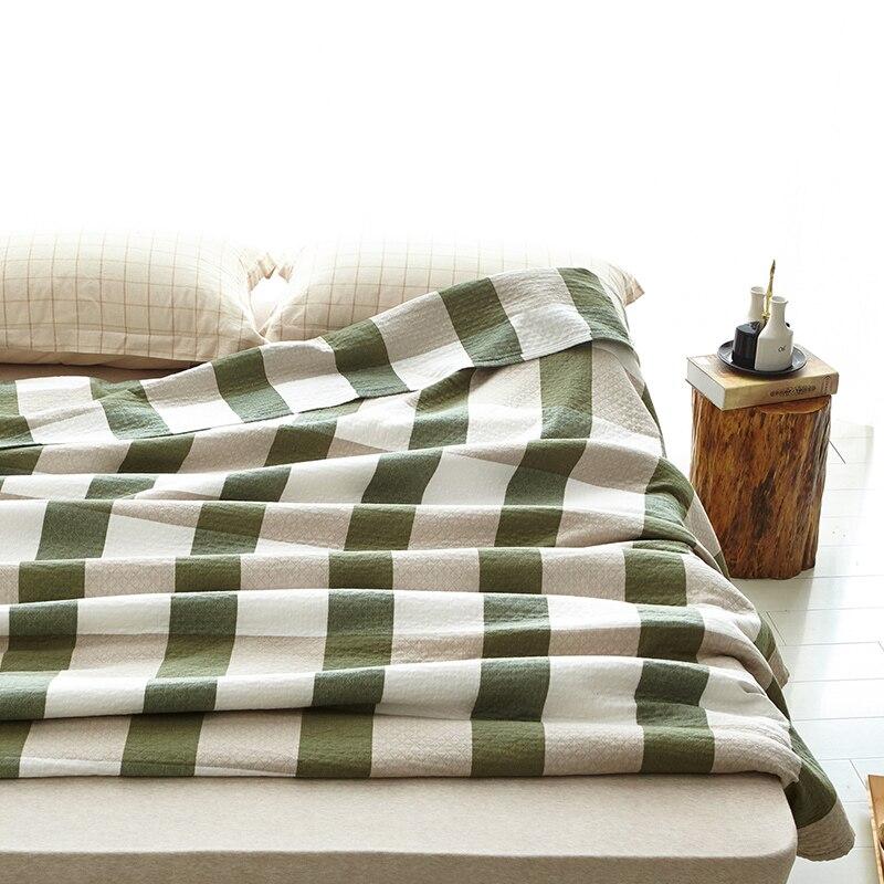 100% хлопчатобумажной пряжи трикотажные Розовый Синий Зеленый в клетку Одеяло на кровать для полного queen Размеры простыня мягкие Одеяло на оп...