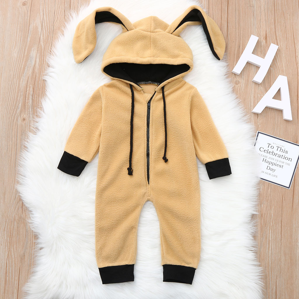 Toddler Infant Baby Girls Boys Cartoon Ear Hooded   Romper   Jumpsuit Outfits