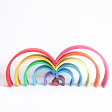 12 Pcs/Lot Wooden Rainbow Blocks Children Tunnel Stacker Nesting Creative Montessori Baby Puzzle Educational Toy