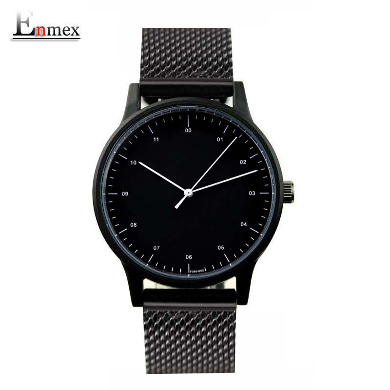 2017 Enmex handsome lady style wristwatch Brief vogue simple stylish with Black and white face steel
