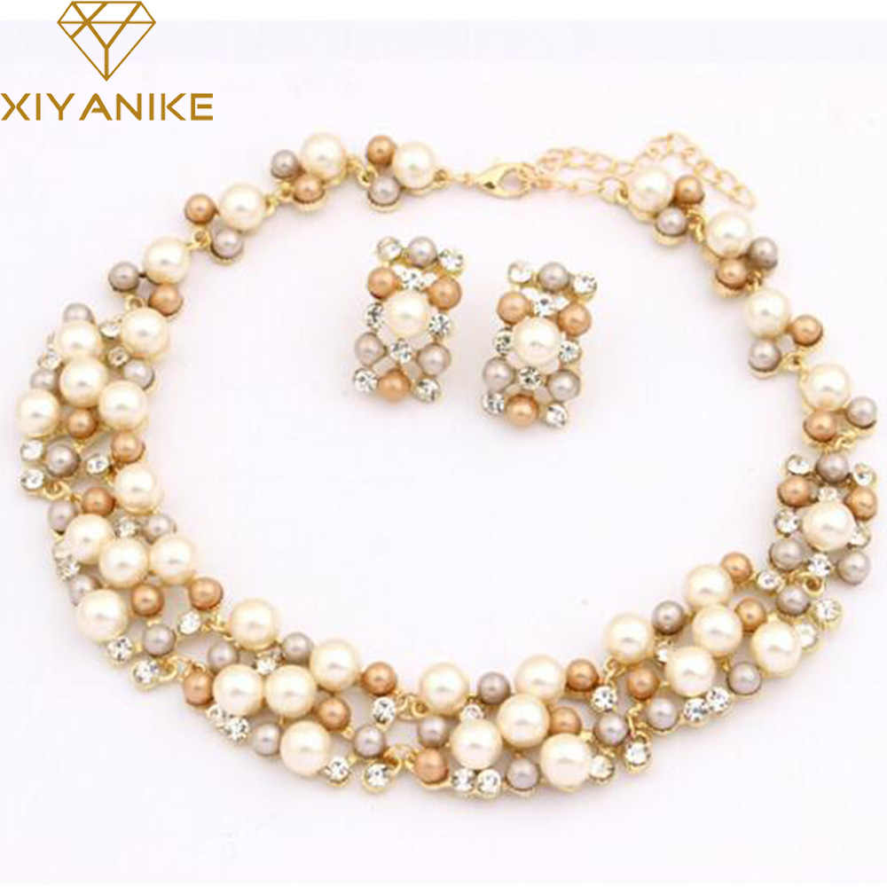 New Fashion Jewelry Set Necklace Statement Stud Earrings Women imitation pearl Jewelry Set For Women Wedding Jewelry N383
