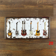 Vintage painting Music Guitar License plate metal Wall art Decor House Cafe Bar iron Doorplate decoration 15*30 CM