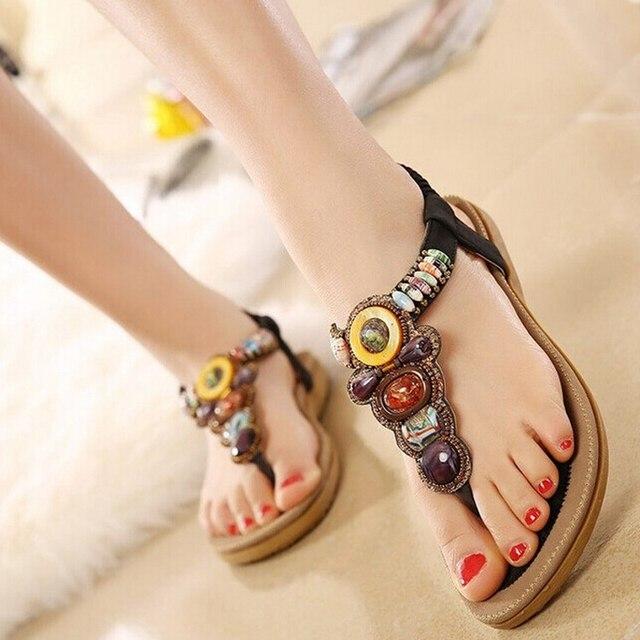 2018 Summer Flat Sandals Ladies Bohemia Beach Flip Flops Shoes Gladiator Women Shoes Sandles platform Zapatos Mujer Sandalias