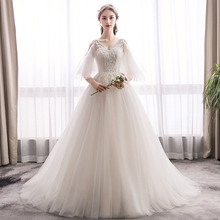 Beauty-Emily Beads White Wedding Dresses 2019 New Party Bridal Dress Long Gowns Custom made