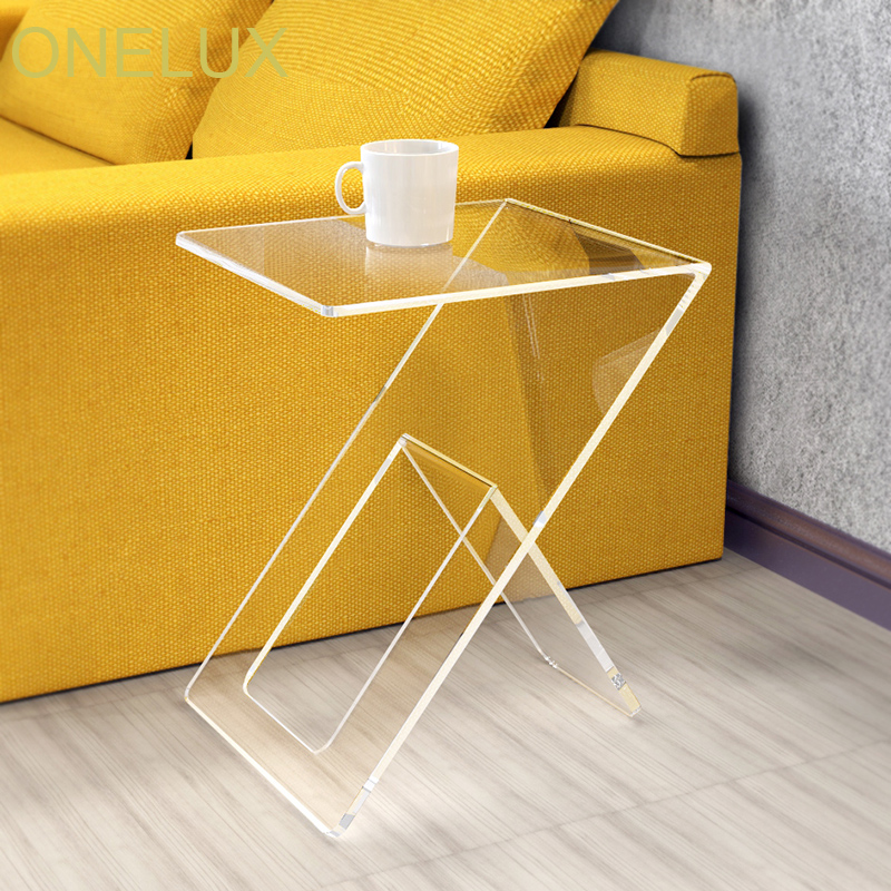Clear Acrylic Occasional / Side / Sofa / End Tea Table - 36W 40D 50H CM c shaped waterfall acrylic occasional side tray table on wheels plexiglass rolling sofa tea tables