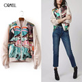 ORMELL Women Elegant Birds Printed Bomber Jacket Long Sleeve Stand Collar Flight Jackets Ladies Casual Outwear Top Capa CC160821