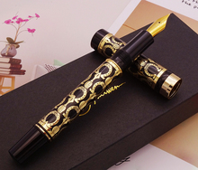 Fuliwen Oversize 2085 Fountain Pen Lacquered Black & Gold Plate, Beautiful Patterns Medium Nib Gift Business Office Supplies