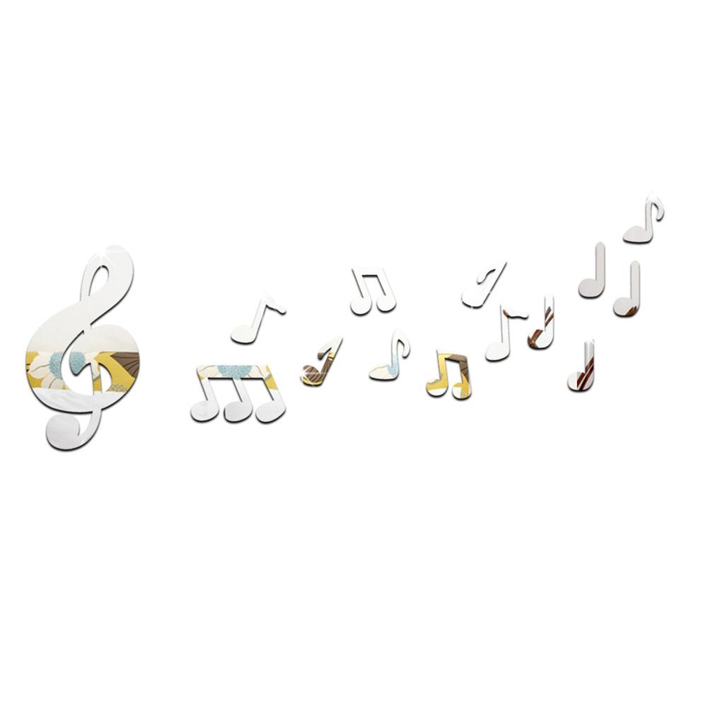 unids music note music note espejo de acrlico diy d espejo pegatinas de pared romntico