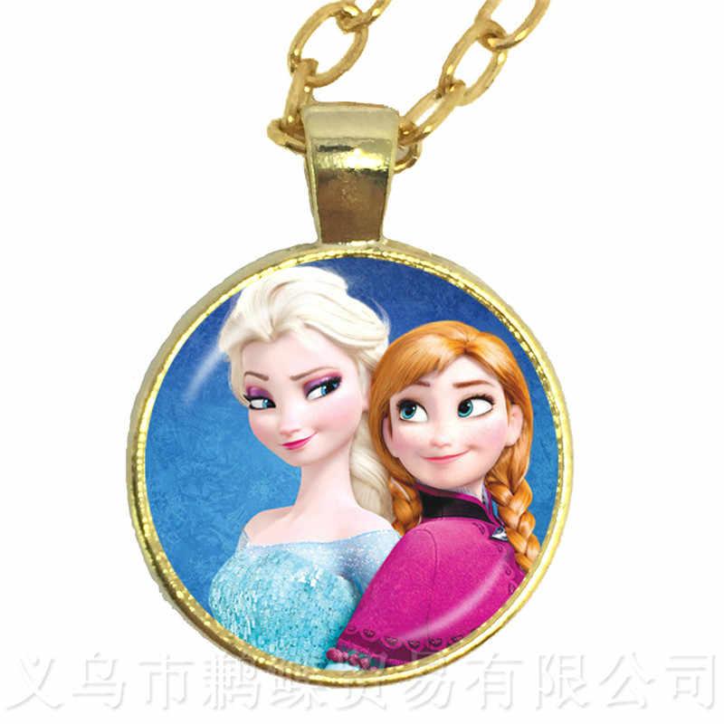 Moda Colar de Jóias Rodada Colar de Pingente de Menina Dos Desenhos Animados Meninas Elsa Anna Olaf Sweaterchain Presente Para Crianças Grátis