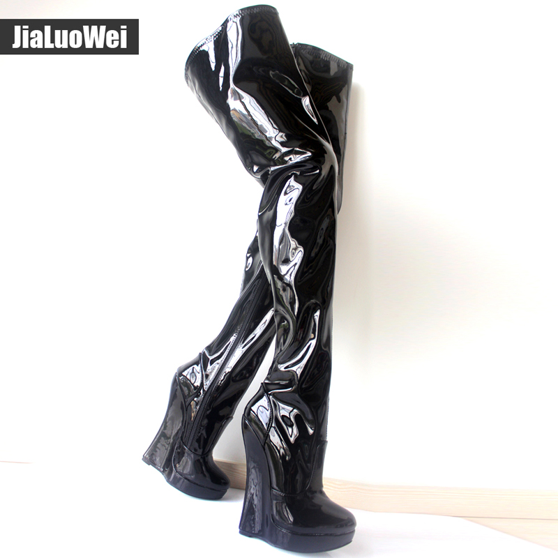 Jialuowei 2017 New stunning slim thigh high wedges over-the-knee boots custom giaroslick high heel boots unisex plus size sorbern extrem high heel strange style wedges thigh high boots designer platform boots long custom shoes women plus size 4 15