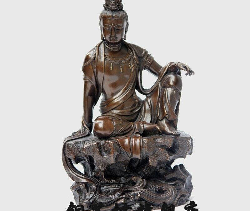 12 China Tibet Bronze Lotus Guanyin Kwan yin Bodhisattva Sit Brass Statue #1