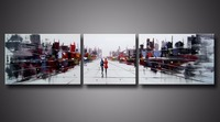 3 pc Hand Painted Abstract Oil Painting City Landscape Couple Walk in the Street Stretched Framed Canvas Wall Art Ready to Hang